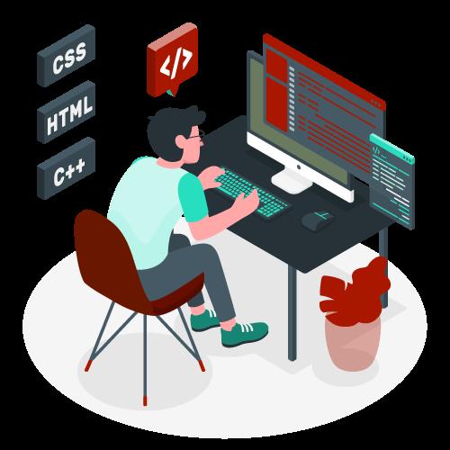 Illustration d'un développeur à la main