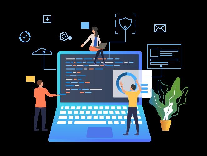 Illustration d'une équipe d'une agence web